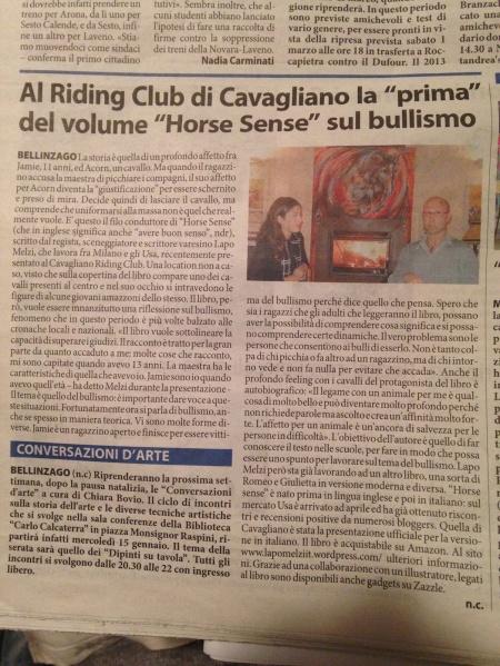 Horse Sense su Prealpina Novara small
